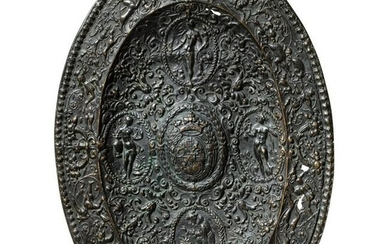 A French cast-bronze ornamental plate, circa 1600 or