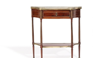 A French late 18th century brass mounted mahogany Directoire console with marble top, front with drawer. H. 86. W. 81. D. 31 cm.
