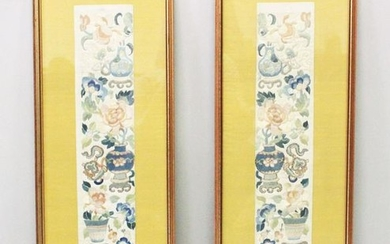 A GOOD PAIR OF 19TH / 20TH CENTURY CHINESE EMBROIDERED