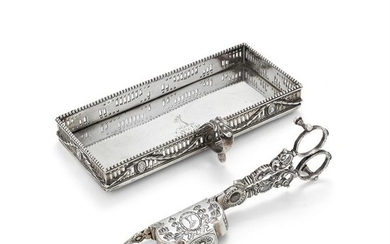 A George III silver candle snuffers and stand