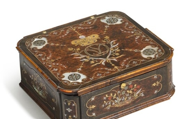 A German gilt-brass and mother-of-pearl inlaid wood casket, Bavaria, circa 1725