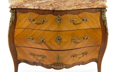 A Louis XV Style Bookmatch Veneered Commode Height 35 x