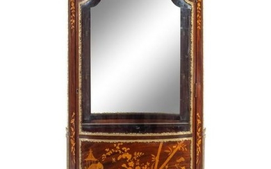 A Louis XV Style Gilt Metal Mounted Marquetry Vitrine