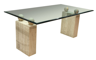 A Modern glass dining table