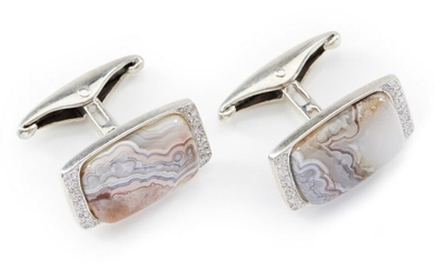 A PAIR OF AGATE AND DIAMOND CUFFLINKS