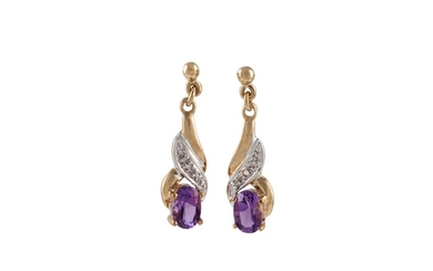 A PAIR OF AMETHYST AND DIAMOND DROP EARRINGS, mounted in yel...