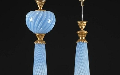 A PAIR OF ORMOLU MOUNTED OPAQUE GLASS LAMPS Probably