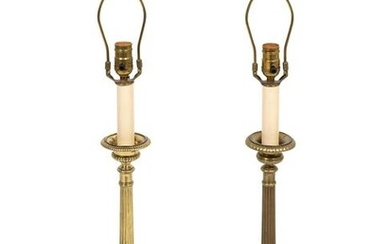 A Pair of Brass Altar Prickets Mounted as Lamps Height