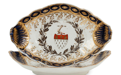 A Pair of Chamberlains Worcester Porcelain Armorial Dishes