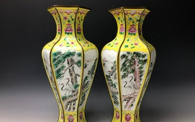 A Pair of Hand Painted Yellow Ground Enamel Hexagonal