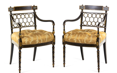 A Pair of Regency Style Gilt and Black Lacquered Armchairs