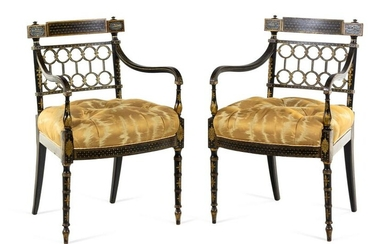 A Pair of Regency Style Gilt and Black Lacquered