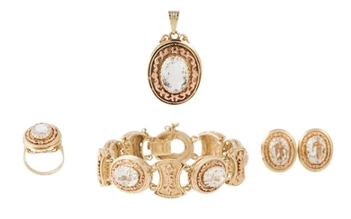 A SUITE OF CRYSTAL JEWELLERY comprising of a pendant, bracel...