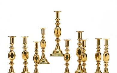 A Suite of Antique Brass Diamond Candlesticks