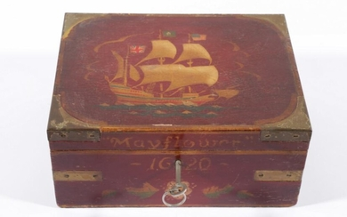 A Timber Lockable, Brass Bound Humidor Featuring The 'Mayflower' (H:12cm W:25cm D:20cm)