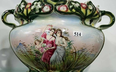 A VICTORIAN POTTERY JARDINIERE