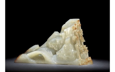 A WHITE AND RUSSET JADE BOULDER, QING DYNASTY, QIANLONG PERIOD
