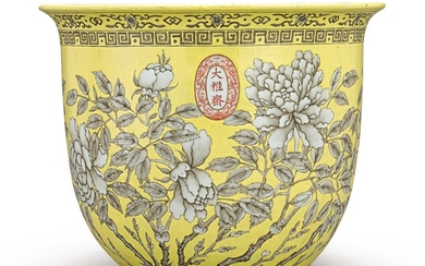 A YELLOW-GROUND GRISAILLE-DECORATED JARDINIERE QING DYNASTY, GUANGXU PERIOD, DAYAZHAI MARK