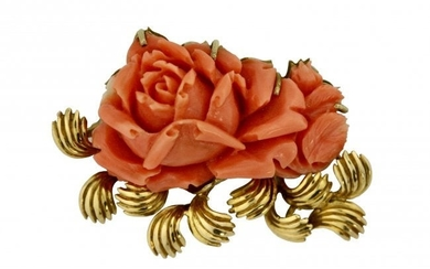 A carved Coral Brooch