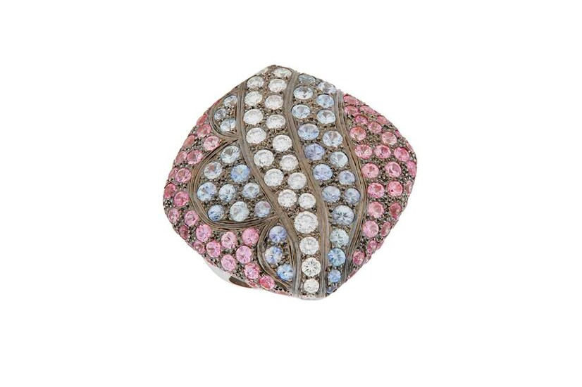 A diamond, pink and blue sapphire dress ring