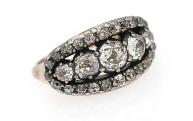 SOLD. A diamond ring set with numerous old-cut diamonds weighing a total of app. 1.70...