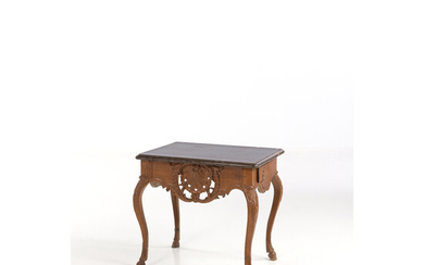 A flemish mid 18th century oak console table, on cabriole legs (altered) H : 28,7 x W : 30,3 x D : 23,2 in