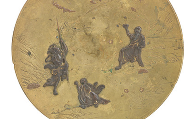 A gilt and inlaid bronze dish