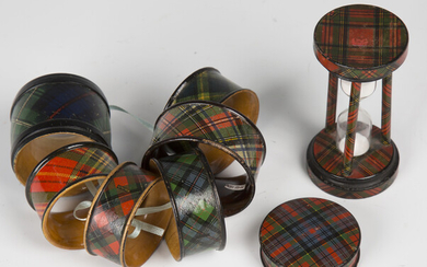 A group of late Victorian tartanware, comprising a 'Stuart' tartan sand timer, height 9.5c