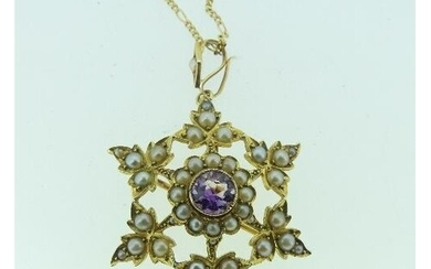 A late Victorian 15ct yellow gold open star shaped Brooch/Pe...