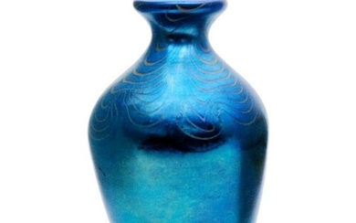 A later 20th Century Okra glass vase of ovoid form with ever...