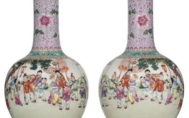 A pair of Chinese Republic period bottle vases,...