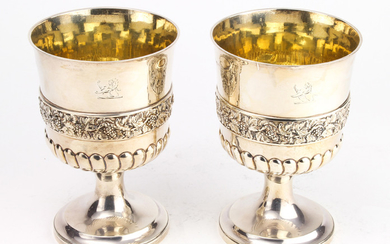 A pair of George III sterling silver goblets