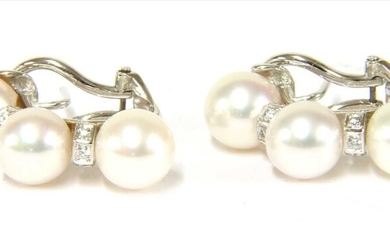 A pair of Italian white gold cultured pearl and diamond earrings