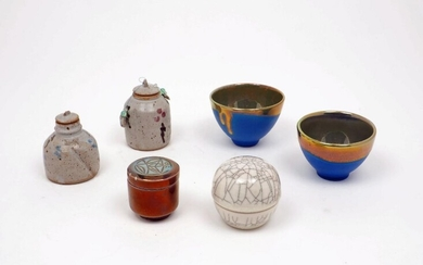 A selection of modern studio pottery of small proportions, comprising:...
