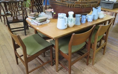 A set of six 1970s teak dining chairs, with broad top rails ...