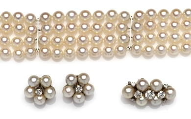 A suite of cultured pearl and diamond jewellery