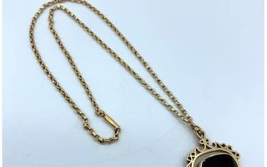 A vintage 15ct rose gold necklace with 9ct pendant, 13g and ...