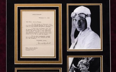 AN AMELIA EARHART SIGNED LETTER 1932 mounted in a...