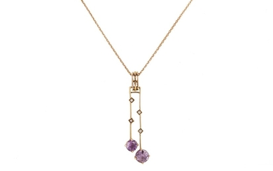 AN AMETHYST AND SEED PEARL PENDANT AND CHAIN, in 8ct gold, 3...