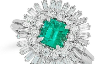 AN EMERALD AND DIAMOND CLUSTER RING comprising of an
