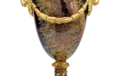 AN ENGLISH ORMOLU-MOUNTED BLUE JOHN URN