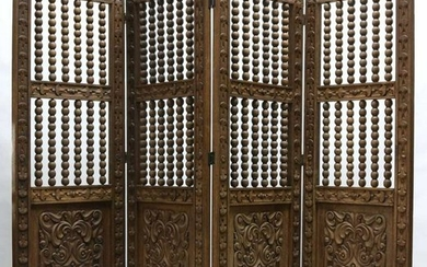 ANTIQUE EUROPEAN HAND CARVED 6' 4-PANEL SCREEN