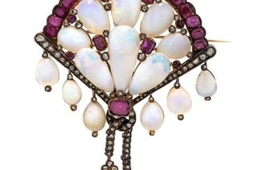 ANTIQUE, OPAL, PINK SAPPHIRE AND DIAMOND BROOCH
