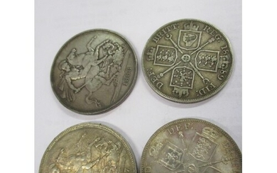 An 1887 silver crown and an 1888 Jubilee crown, together wit...