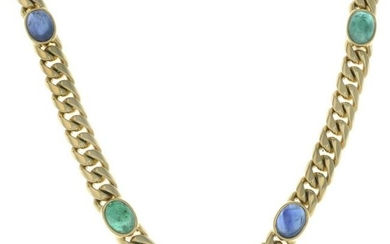 An 18ct gold curb-link necklace, with sapphire and