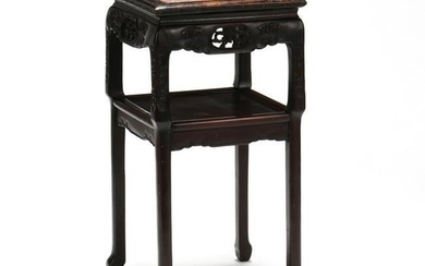 An Antique Chinese Carved Hardwood Marble Top Table