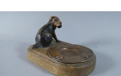An Edwardian Carved Wooden Stand with Fox Terrier Mount and ...