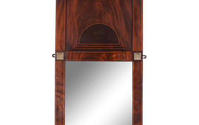 An Empire Style Satinwood Inlaid Mahogany Mirror