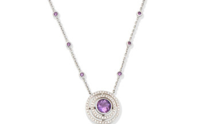 An amethyst and diamond 'Bella' pendant necklace, by Theo Fennell