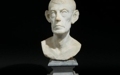 An early 18th century white marble head of Diogene